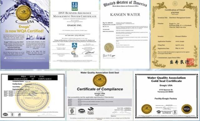 Máy lọc nước Kangen được công nhận về chất lượng bởi nhiều tổ chức, hiệp hội uy tín trên thế giới