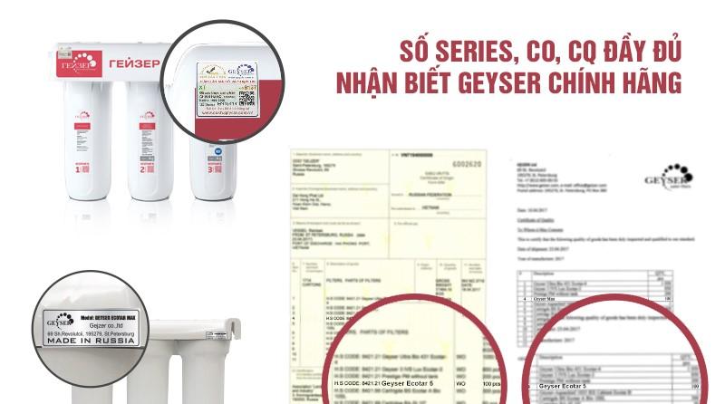 Các chứng nhận mà Nano GEYSER ECOTAR 5 đã đạt được