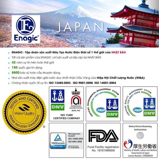 Máy điện giải ion kiềm của Enagic được chứng nhận chất lượng bởi nhiều tổ chức uy tín hàng đầu thế giới