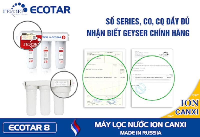 Các chứng nhận của máy lọc nước canxi GEYSER ECOTAR 8
