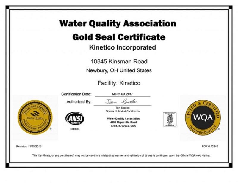 Máy lọc nước uống Kinetico Compact 2 đã đạt nhiều chứng nhận quốc tế