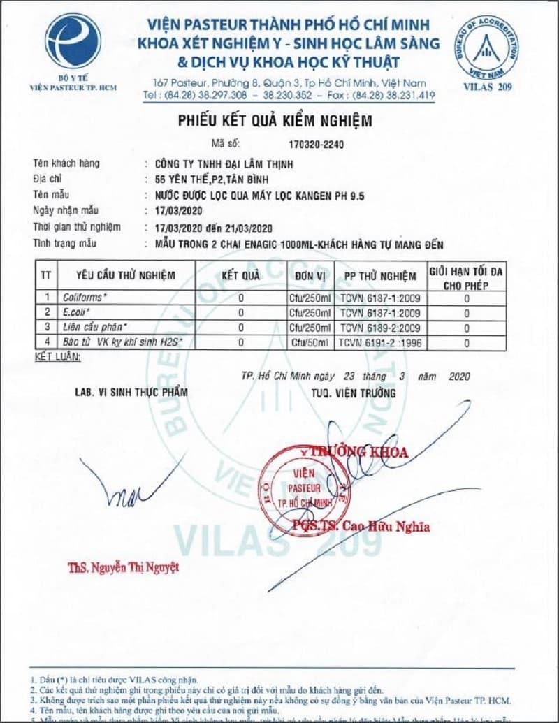 Mẫu nước từ máy Kangen đã được cấp giấy chứng nhận về các loại vi khuẩn