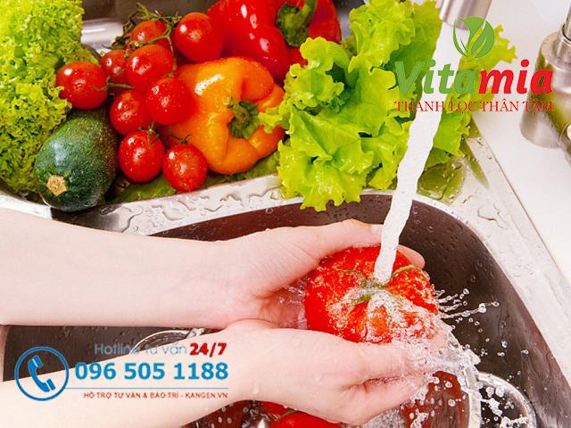 Nước Kangen 11.5 giúp làm sạch thực phẩm và khiến món ăn ngon hơn