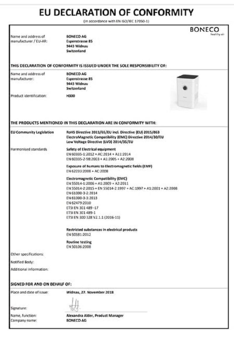 Giấy chứng nhận của BONECO HYBRID H300 về sự phù hợp của EU