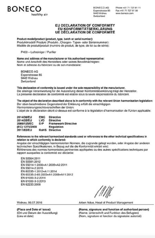 Giấy chứng nhận tiêu chuẩn về sự phù hợp của BONECO P400 tại thị trường EU