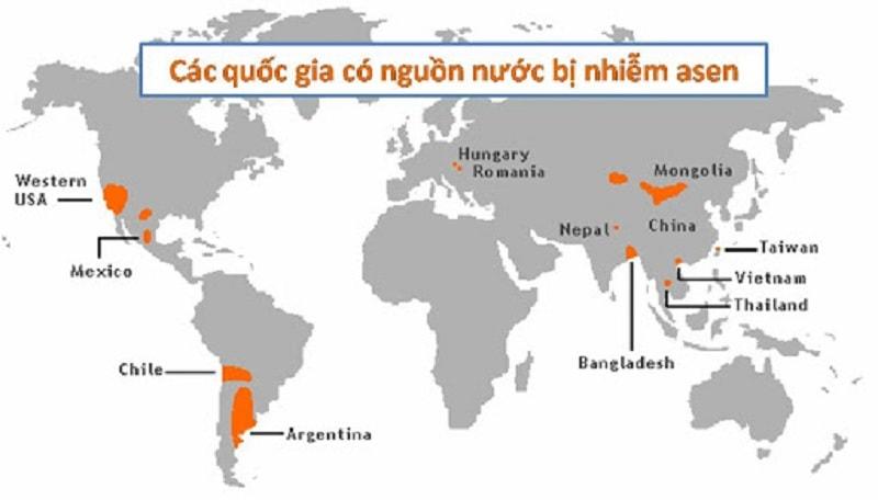 Một số khu vực nước bị nhiễm Asen trên thế giới