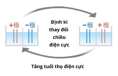 Công nghệ đảo chiều điện cực giúp máy Trim Ion duy trì tuổi thọ đến 15 năm